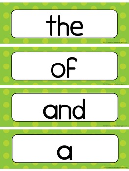Fry's Instant Word First Hundred Words Word Wall - Lime Green Dot