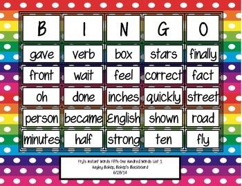 Fry's Instant Words Bingo Fifth 100 Words