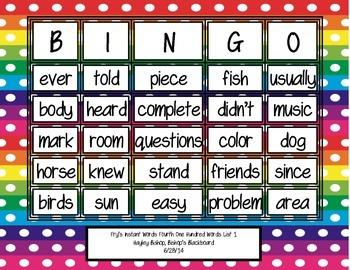 Fry's Instant Words Bingo Fourth 100 Words