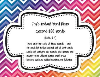 Fry's Instant Words Bingo Second 100 Words