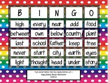 Fry's Instant Words Bingo Third 100 Words