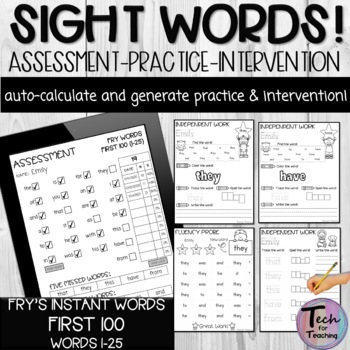 Fry's Instant Words Checklist-First (Automatically Counts Correct Words)