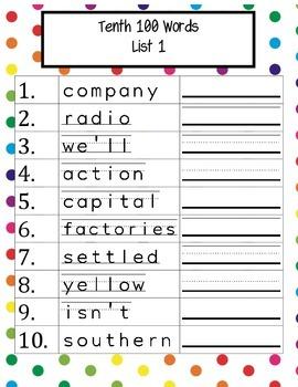 Fry's Instant Words Handwriting Practice Tenth 100 Words