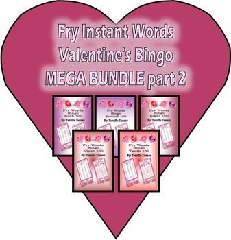 Fry's Instant Words Valentine's Day Bingo MEGA Bundle part 2