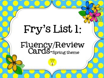 Fry's List 1- fluency cards