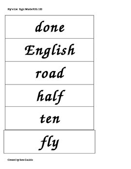Fry's List Fifth 100 Flashcards/ Wordwall Cards