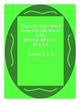 Fry's List Sight Word Game - Sixth List