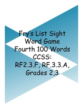Fry's List Sight Word Game - Fourth Hundred