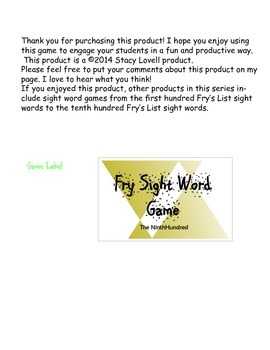 Fry's List Sight Word Game - Ninth List