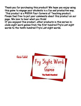 Fry's List Sight Word Game - Tenth List