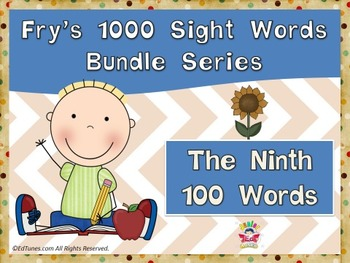 Fry's Ninth 100 Sight Words Bundle by EdTunes Jr.