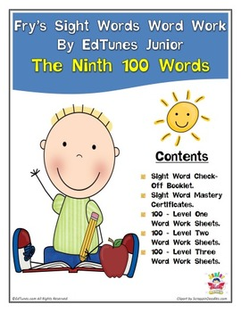 Fry's Ninth 100 Sight Words Work by EdTunes Jr.