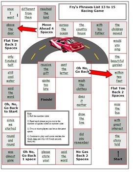 Fry Sight Word Phrases Car Racing Board Game List 13 to 15