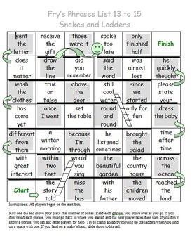 Fry Sight Word Phrases Snakes and Ladders List 13 to 15