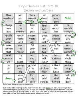 Fry Sight Word Phrases Snakes and Ladders List 16 to 18