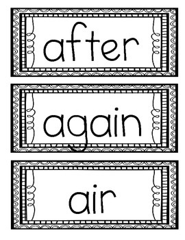Fry's Second 100 Sight Words in ABC Order