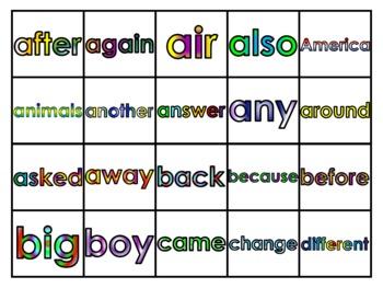 Fry's Second 100 Vocabulary Words Study Mats (20 Words Per Mat)