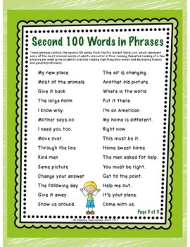 Fry's Second 100 Words in Phrases