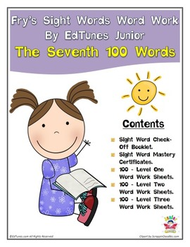Fry's Seventh 100 Sight Words Work by EdTunes Jr.