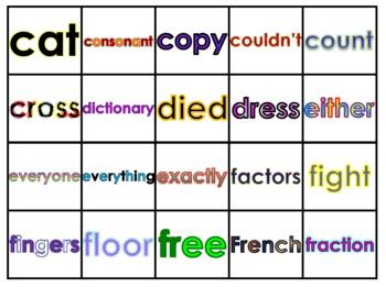 Fry's Seventh 100 Vocabulary Words Study Mats (20 Words Per Mat)