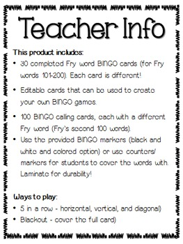 Fry Sight Word BINGO (Words 101-200) Editable