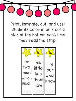 First Grade Sight Words: Fluency Strips
