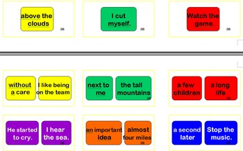 Frys Phrases Sight Word Cards for Candyland 3B