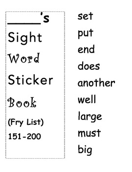 Fry's Sight Word Sticker Books 1-500 Plus Letter and Logs