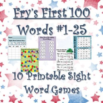 Fry's Sight Words #1-25: Ten Printable Games