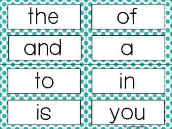 Fry's Sight Words 1-300 Word Wall Headers and Cards Gray Aqua*editable*
