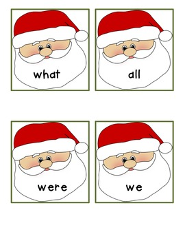 Santa Sight Words -- Fry's #1-50