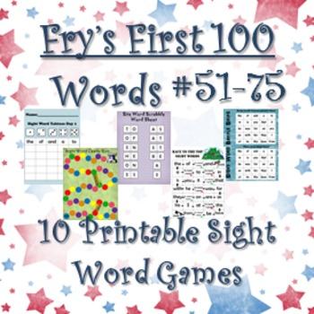 Fry's Sight Words #51-75: Ten Printable Games