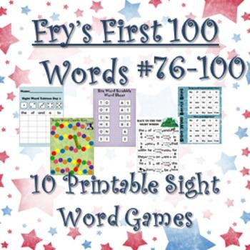Fry's Sight Words #76-100: Ten Printable Games