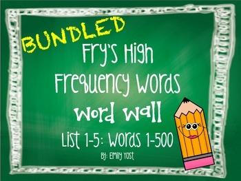 EDITABLE Fry's Sight Words BUNDLED (Lists 1-5: Words 100-5
