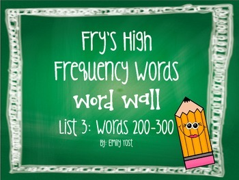 EDITABLE Fry's Sight Words (List 3: Words 200-300) Word Wall