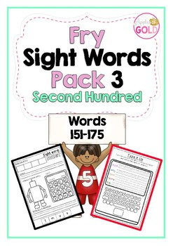 Fry Sight Words Pack 3- Second Hundred List (151-175)