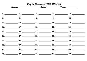 Fry's Sight Words test sheet / proforma 1-1000