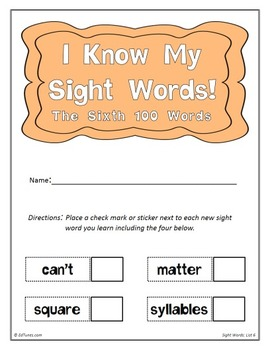 Fry's Sixth 100 Sight Words Flash Cards by EdTunes Jr.