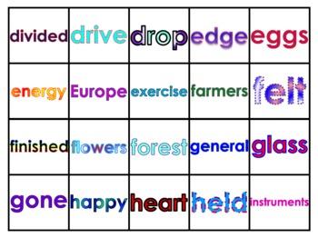Fry's Sixth 100 Vocabulary Words Study Mats (20 Words Per Mat)