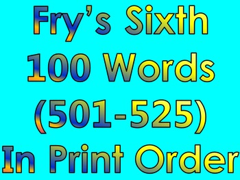 Fry's Sixth 100 Words in Print Order PowerPoint/Flash Cards - Grades 3 - 4