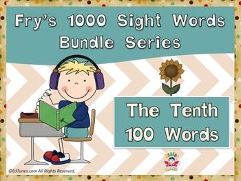 Fry's Tenth 100 Sight Words Bundle by EdTunes Jr.