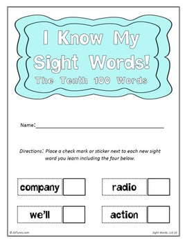 Fry's Tenth 100 Sight Words Flash Cards by EdTunes Jr.
