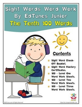Fry's Tenth 100 Sight Words Work by EdTunes Jr.