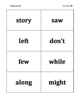 Fry's Third 100 Sight Word Flashcards