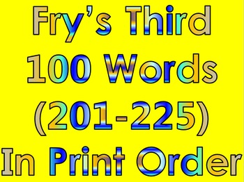 Fry's Third 100 Words in Print Order PowerPoint/Flash Cards - Grades 1 - 2