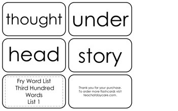 Fry's Third Hundred List 1 Flash Cards.  High Frequency 2nd and 3rd Grade.