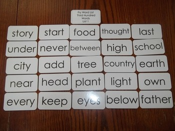 Fry's Third Hundred List Laminated Flash Cards. High Frequency Grades 2nd-3rd