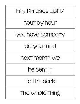 Fry's Word List and Phrases Practice