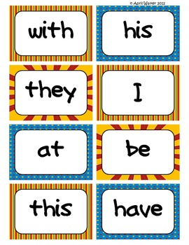 Fry's Word Wall Cards (Words 1-100)  with Blue, Yellow, and Red Borders