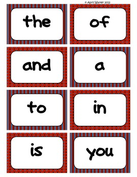 Fry's Word Wall Cards (Words 1-100)  with Red, Black, and Blue Borders